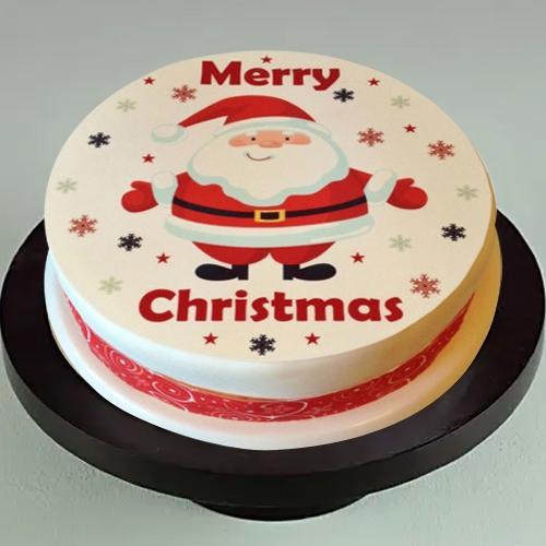 Glorious Santa Claus Merry Christmas Photo Cake