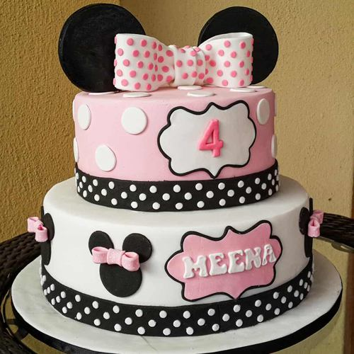 Fluffy Minnie Designed 2 Tier Cake for Kids Party