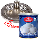 Delicious 1 Kg. Rasgulla from Haldiram and 5-6 inch Silver Plated Puja Thali