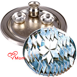Delectable 1/2 Kg. Kaju Katli from Haldiram and 5-6 inch Silver Plated Puja Thali