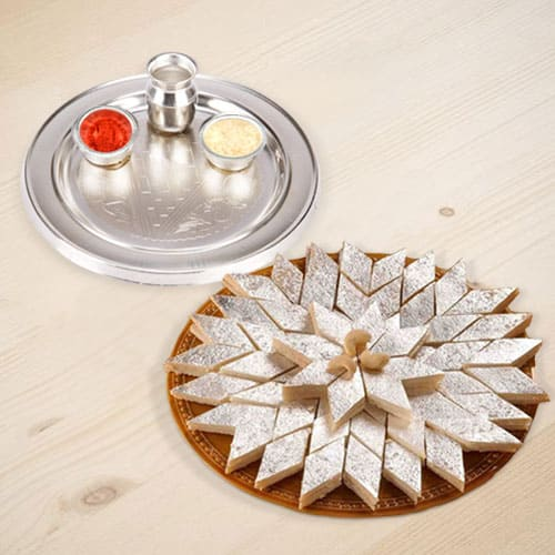 Silver Plated Thali with Haldiram Kaju Katli