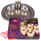 Delectable Soan Papdi from Haldiram and 5-6 inch Silver Plated Puja Thali