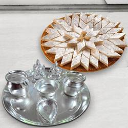 Silver plated Puja Thali with Silver Plated Lakshmi Ganesha with Haldiram�s Kaju Katli