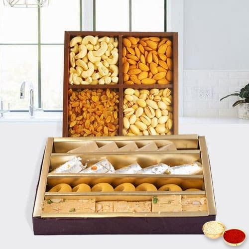 Yummy Assorted Dry Fruits with Assorted Haldirams Sweets Combo