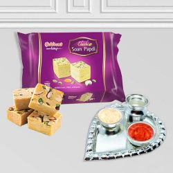 Silver Plated Paan Shaped Puja Aarti Thali (weight 52 gms) with Soan Papdi from Haldiram