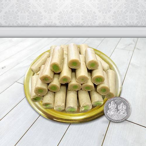Haldirams Kaju Roll N Gold Plated Thali , Free Coin