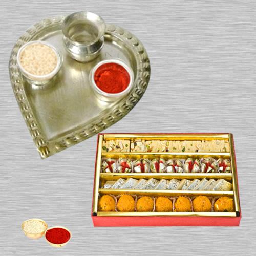 Haldiram Assorted Sweets N Thali with Roli Tilak and Chawal