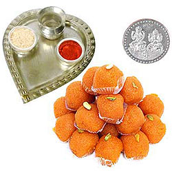 Buy Haldirams Ladoo with Aarti Thali N Free Coin