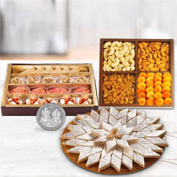 Dry Fruits with Assorted Sweets with free silver plated coin for Diwali