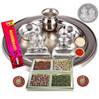 Silver Laxmi Puja Hamper with Dry Fruits for Diwali