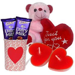 Valentine's Day Combo of Teddy with Heart, Cadbury Chocolates, Heart Shape Candle n a Love Mug