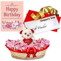 Enthralling Collection of Shoppers Stop Gift Voucher of Rs.1000, Soft Teddy, Corazon Chocolate Basket and Message Card