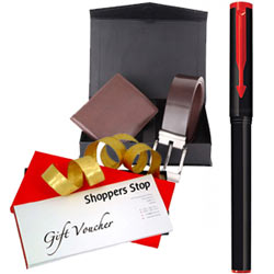 Remarkable Gift Set of Shoppers Stop Gift Voucher worth Rs.1000 with Parkar Beta Pen and Wallet N Belt Gift Box