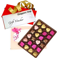 Remarkable Gift of Shoppers Stop Gift Coupon worth Rs.1000 and 24 Pc. Home Made Assorted Chocolates Pack