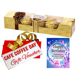 Sparkling Birthday Pack of Gift Voucher, Bday Card and Ferrero Roacher