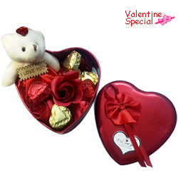 Beautiful V-Day Gift of Handmade Chocolates, Teddy and Roses