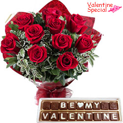 Sumptuous Be My Valentine Handmade Chocolates with Lovely Red Roses Bouquet