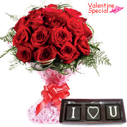 Charming V-day Combo of Red Roses Bouquet with I Love You Handmade Chocolates