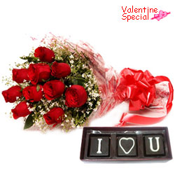 Glorious Red Roses Bouquet with Homemade Chocolates Gift Combo