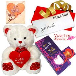 Delightful Pizza Hut Treat Vouchers with Cadbury Dairy Milk Silk Pop Up Heart, Love Teddy & a Greetings Card