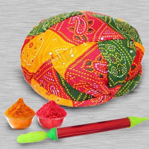 Multicolored Rajasthani Topi with Pichkari N Free Gulal for Holi