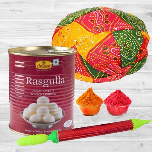 Decorative Rajasthani Topi with Pichkari, Rasgulla N Free Gulal