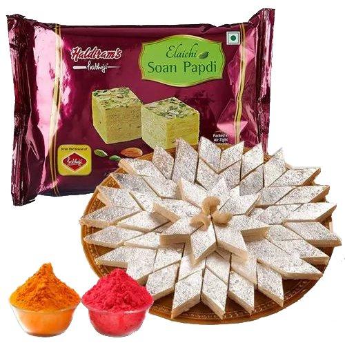 Lip-Smacking Haldiram Kaju Katli with Soan Papdi and Free Herbal Gulal