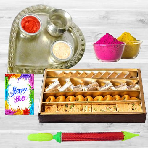 Delicious Sweets Assortment with Aarti Thali for Holi