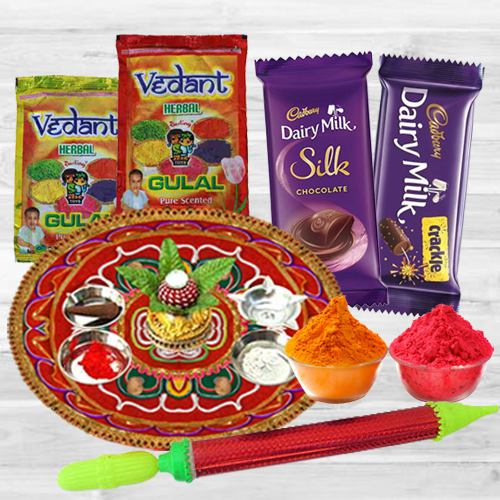 Sweet Holi Celebration with Dairy Milk Chocolates, Puja Thali, Pichkari N Herbal Gulal