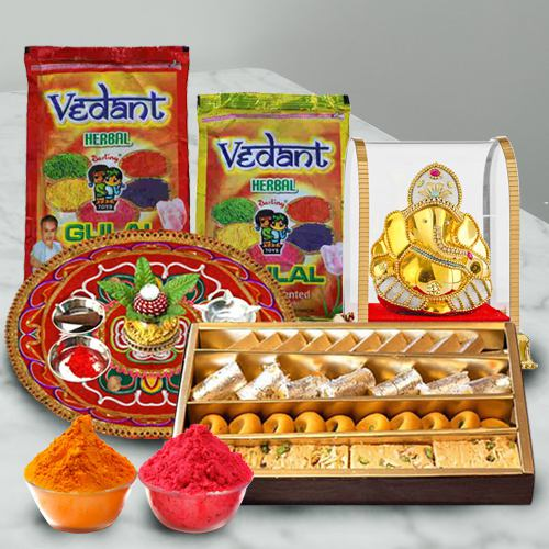 Holi Surprise of Assorted Sweets with Herbal Gulal, Puja Thali N Ganesh Mandap