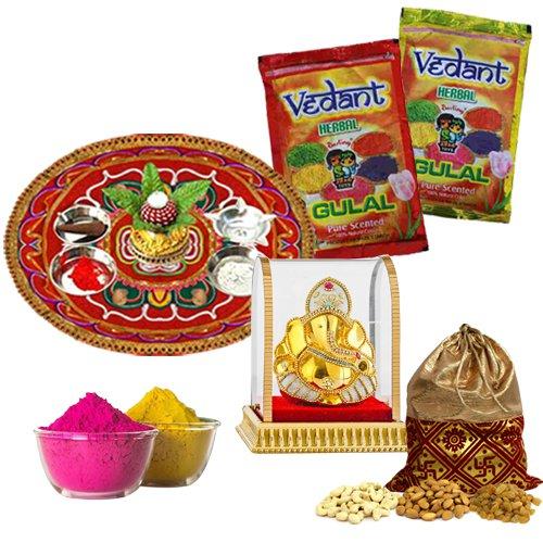 Crunchy Holi Selection of Dry Fruits Potli, Puja Thali, Ganesh Mandap N Herbal Gulal
