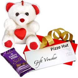 Yummy Cadbury Silk with Pizza Hut Gift Voucher N Teddy