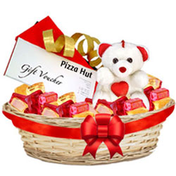 Joyful Basket of Foxes Mixed Fruits with Teddy N Pizza Hut Gift Voucher