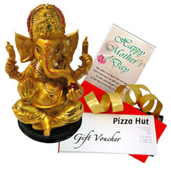 Mothers Day Special Combo of Pizza Hut Gift Voucher with Ganesh Idol N Card