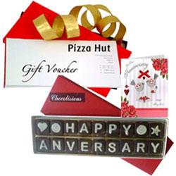 Joyful Celebration Pack of Handmade Chocolate with Pizza Hut Gift Voucher N Anniversary Card