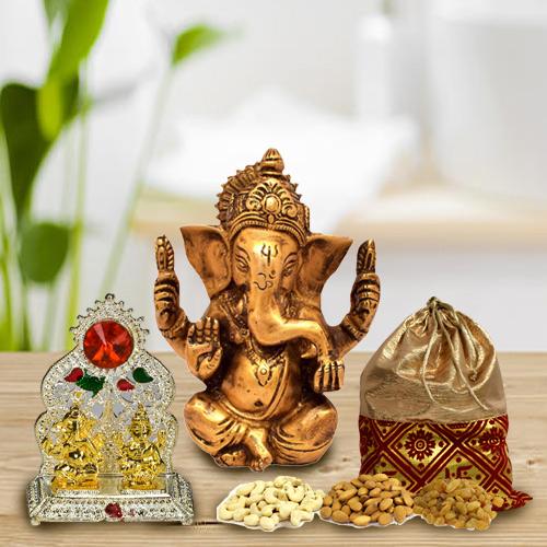 Buy Dry Fruits Potli with Mandap and Vighnesh Ganesh Murti