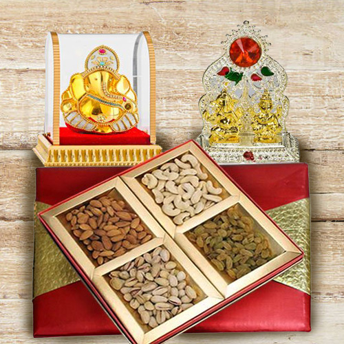 Deliver Puja Mandap with Ganesh Murti and Assorted Dry Fruits Box