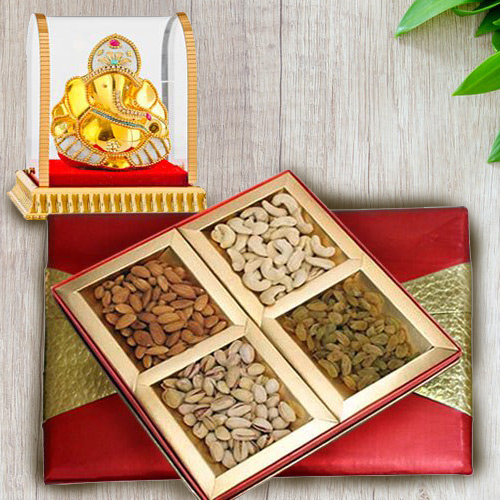Online Vighnesh Ganesha Idol with Assorted Dry Fruits Box