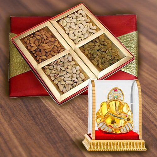 Online Box of Assorted Dry Fruits with Vinayak Idol