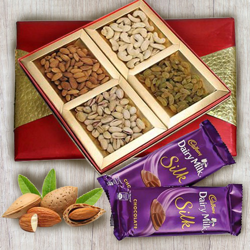 Sending Box of Mixed Dry Fruits with Cadbury Dairy Milk Silk