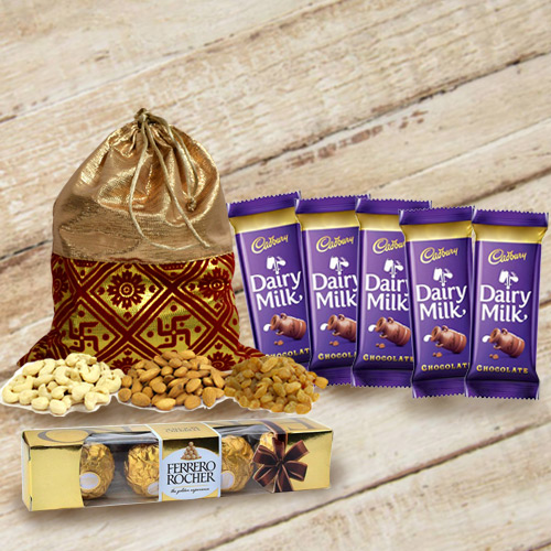 Order Dry Fruits Potli with Chocolates Gift Pack