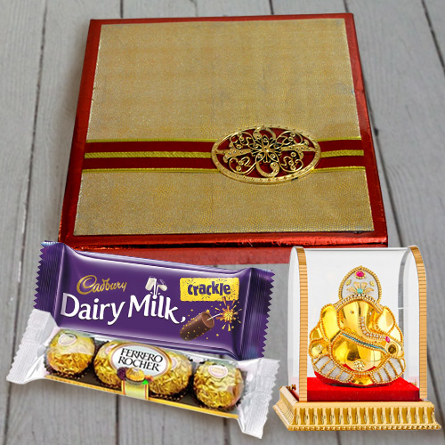 Deliver Assorted Dry Fruits N Chocolates Pack with Vighnesh Ganesh Idol