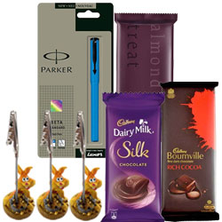 Sending Parker Pen with Chocolates N Pen Holder Combo for Him
