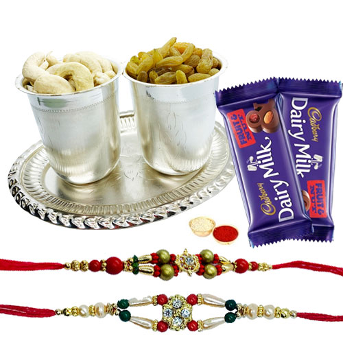Delicious Dry Fruits Hamper in Silver Plated Glasses and Tray with Cadburys Dairy Milk Fruit n Nut