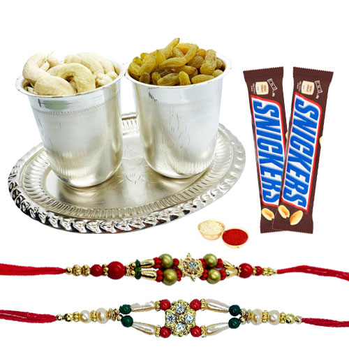 Delicious Dry Fruits Hamper in Silver Plated Glasses and Tray with Snickers