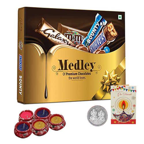 Delightful Diwali Gift Pack of Chocolates with Free Diyas