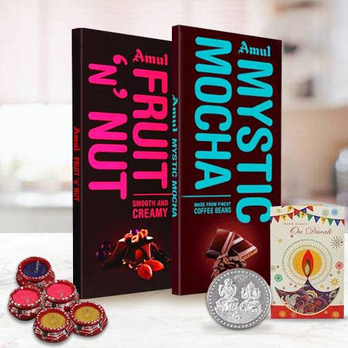Delicious Amul Chocolate Bars with Diwali Greetings Card and Diya