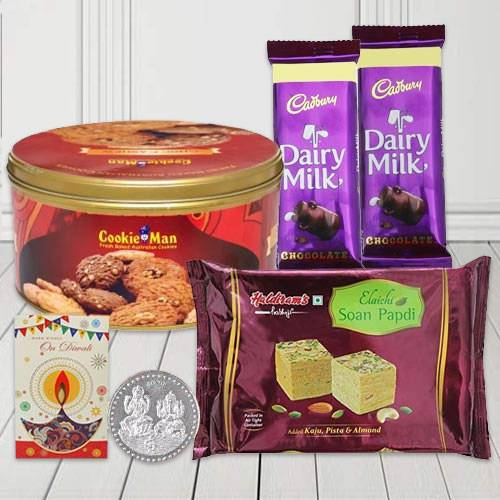 Awesome Diwali Gift of Assorted Chocolates with Cookies N Haldiram Sweets