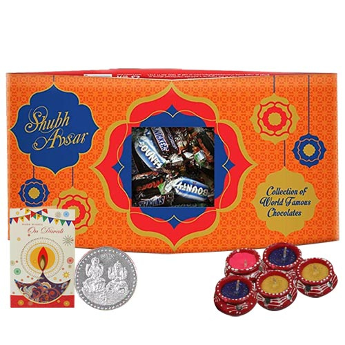 Yummy Snickers Chocolate Pack with Silver Plated Coin and Diya