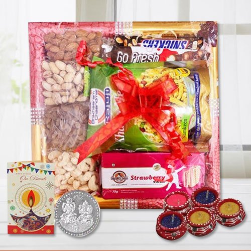 Appealing Pure Luxury Gourmet Tray with Diwali Essential